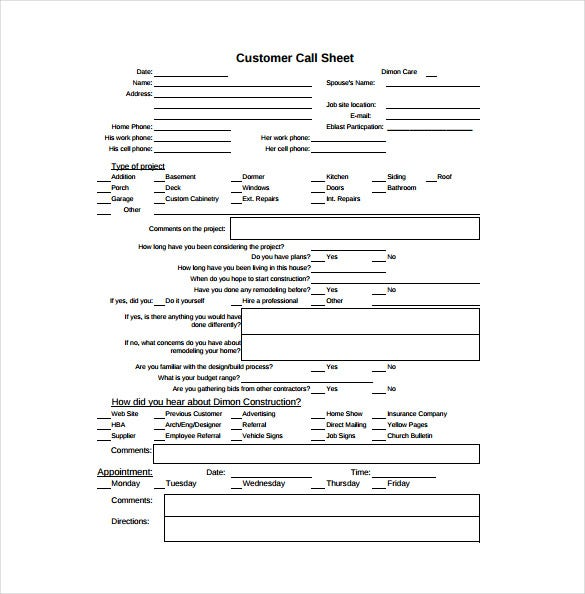 Call Sheet Template 21 Free Word PDF Documents Download – Phone Sheet Template