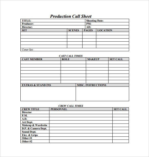 Production Call Sheet Sample PDF Template Free Download