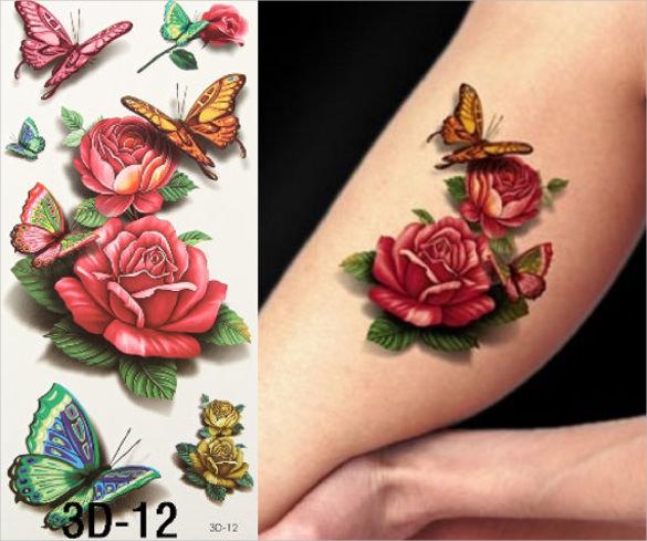 3d tattoo rose floral art template