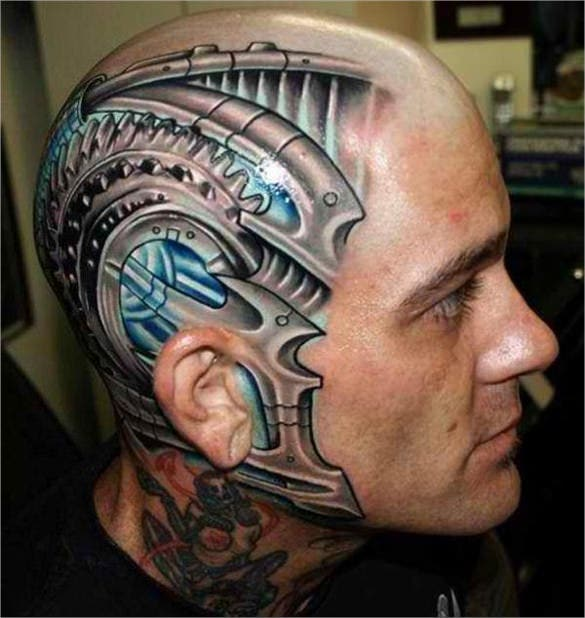 3d art tattoo for the head desing template