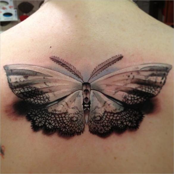 3d butterfly art tattoo desing template
