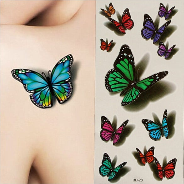 3d art butterfly flying design template