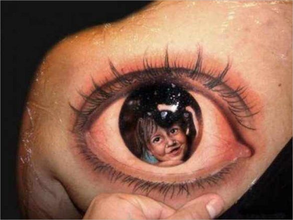 realistic eye 3d art tattoo desing template