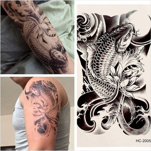 3d art tattoo sticker carp flower desing template