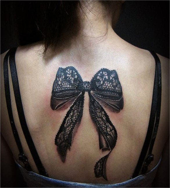 3d art black lace ribbon tattoo design template