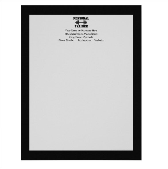 sample personal trainer black and white dumbell training letterhead
