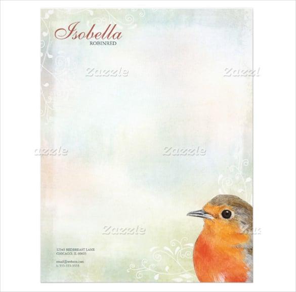 22sample rainbow pastel robin personal letterhead