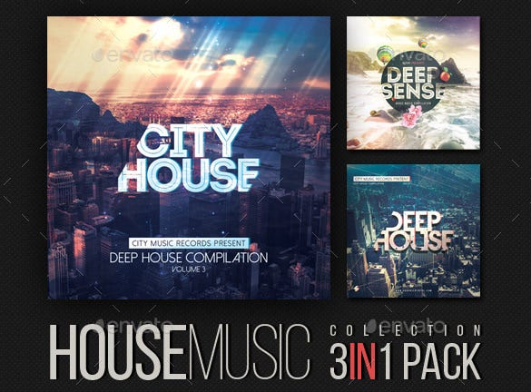 download house music collection cd cover template psd format