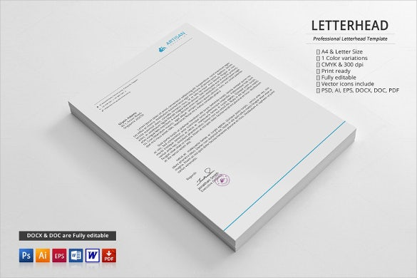 Corporate Letterhead Templates  Free Sample Example Format