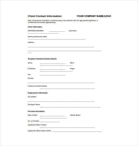 client information fact sheet word template free download