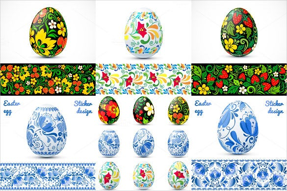 3d ornate easter egg vector template