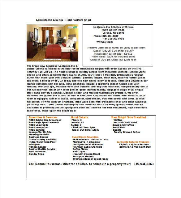 hotel fact sheet word template free download