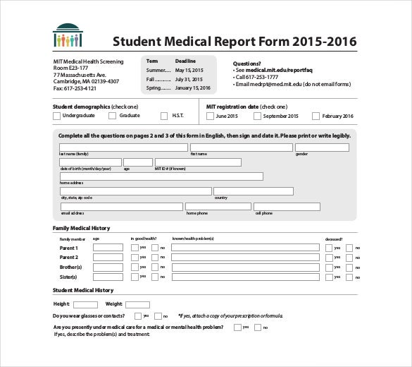 Medical History Template. It Contains The Entire Medical History