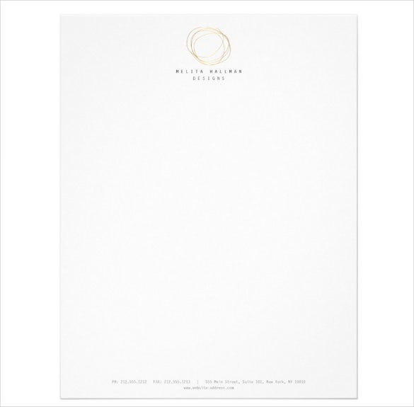 minimal and modern designer scribble logo in gold letterhead sample