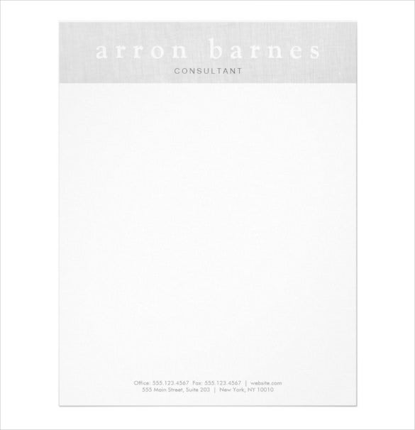 22sample example format simple light gray modern minimalist designer letterhead