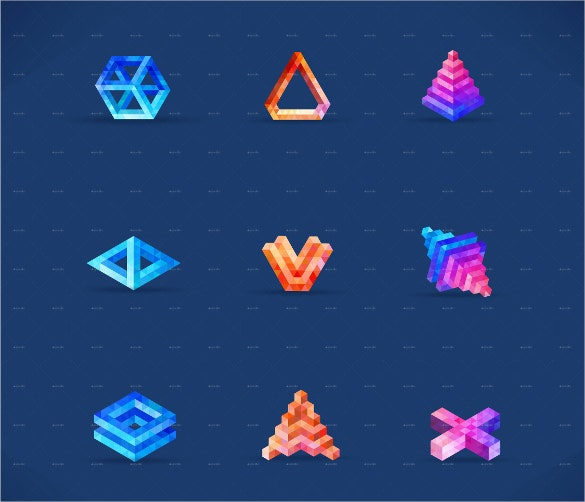 simple 3d geometric shapes template