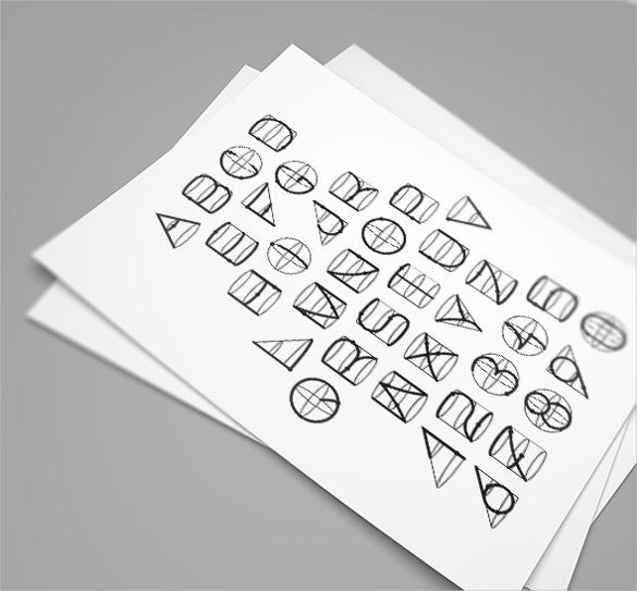 3d geometric line font shapes template