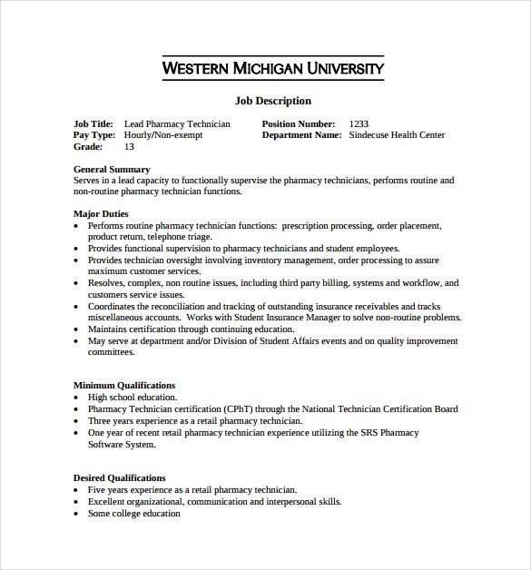 retail pharmacy technician job description sample template free download