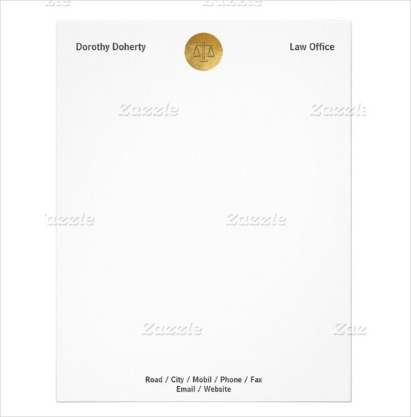 22sample format legal scales of justice law office letterhead