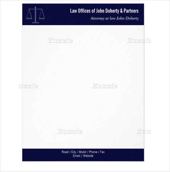 10 legal letterhead templates free sample example for Law office letterhead template free