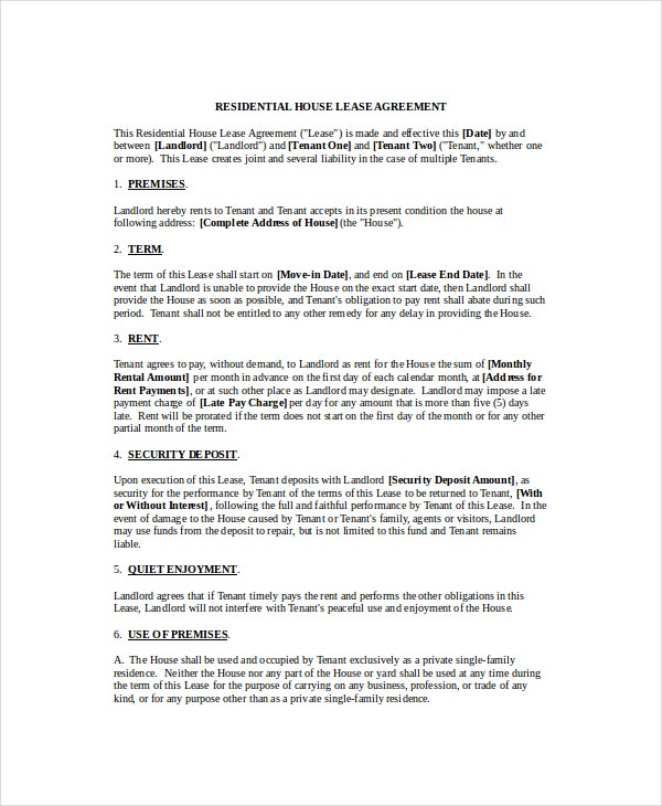 House Lease Agreement Template  Lease Templates