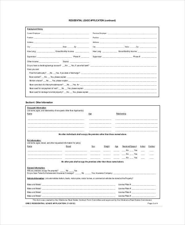 House Lease Application Template