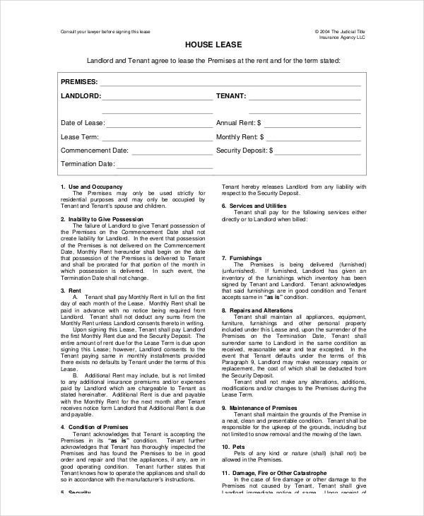 House lease template 6 free word pdf documents for Rental house rules template