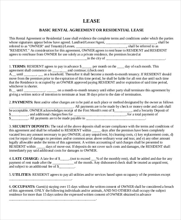 House Lease Template 6 Free Word PDF Documents Download – Generic Lease Template
