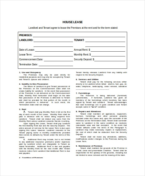 standard house lease template