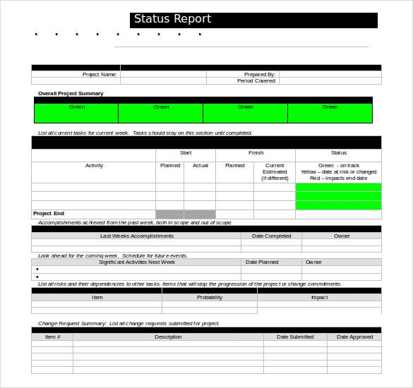 status report template doc format free download