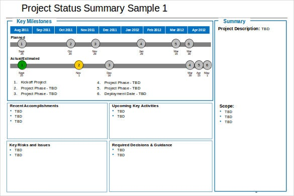 Elegant Sample Project Status Summary Free Template