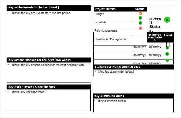 overall project status report ppt format free download template
