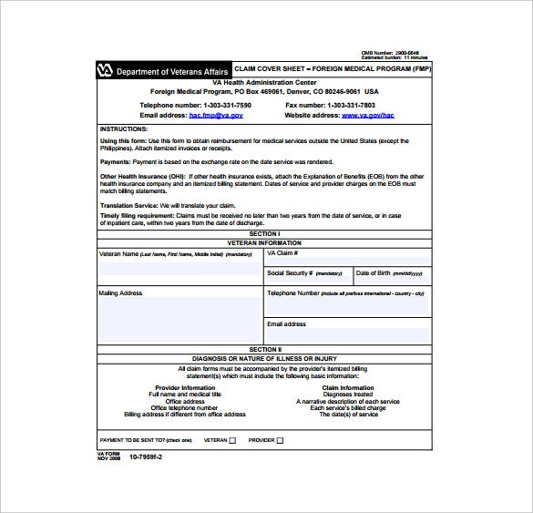 claim cover sheet pdf template free download