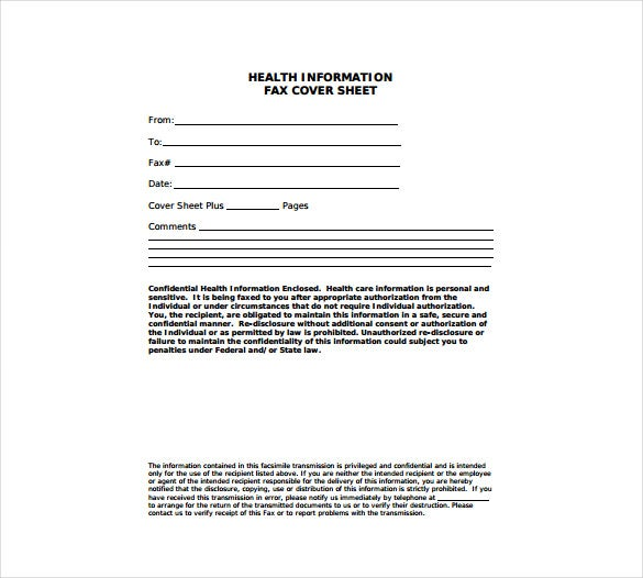 health information fax cover sheet free pdf template download