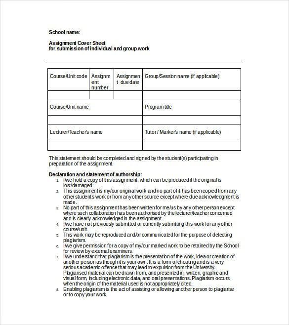 assignment cover sheet free word template download