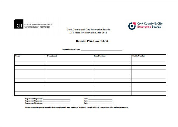 business plan cover sheet free pdf template download