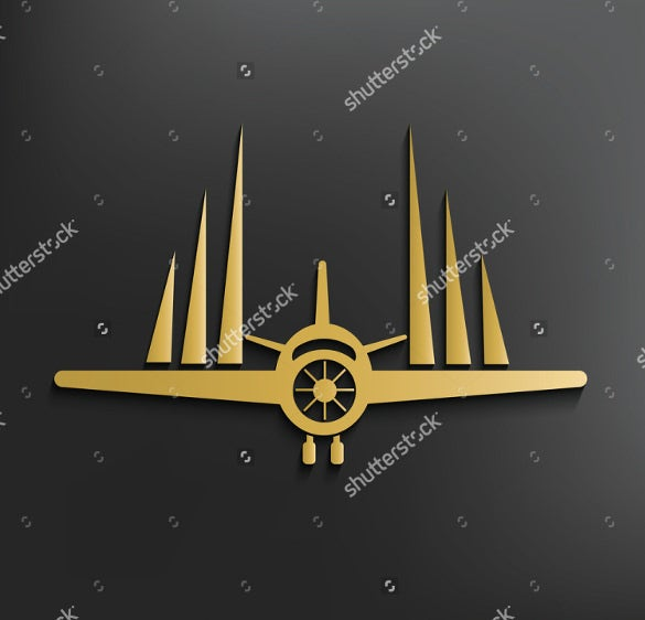 airline logo with black background