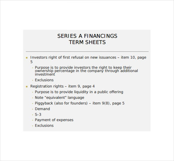 early stage financing term sheet pdf free download