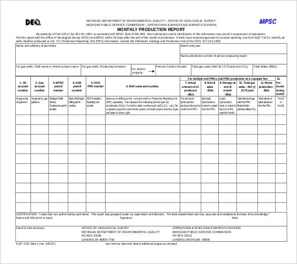 Production Report Templates 10 Free Sample Example Format – Monthly Reports Templates