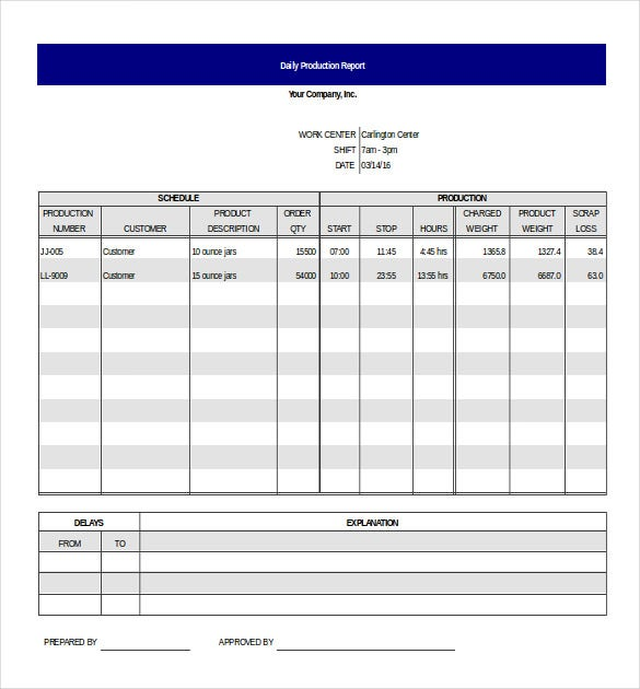 Production Report Templates   Free Sample Example Format