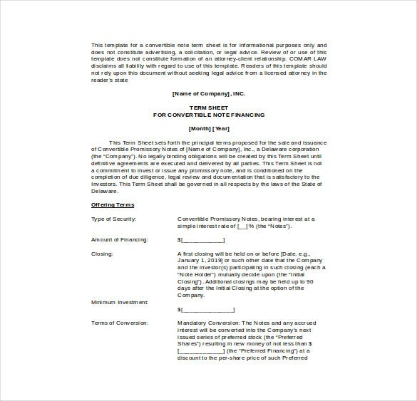 convertible note term sheet word template free download