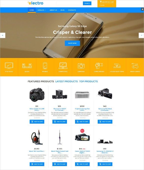 electro virtuemart blog template