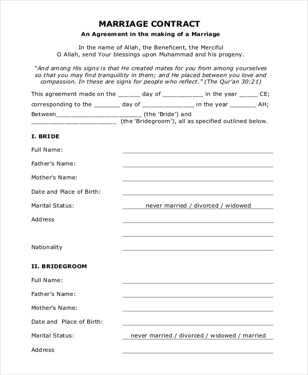Marriage Agreement Template