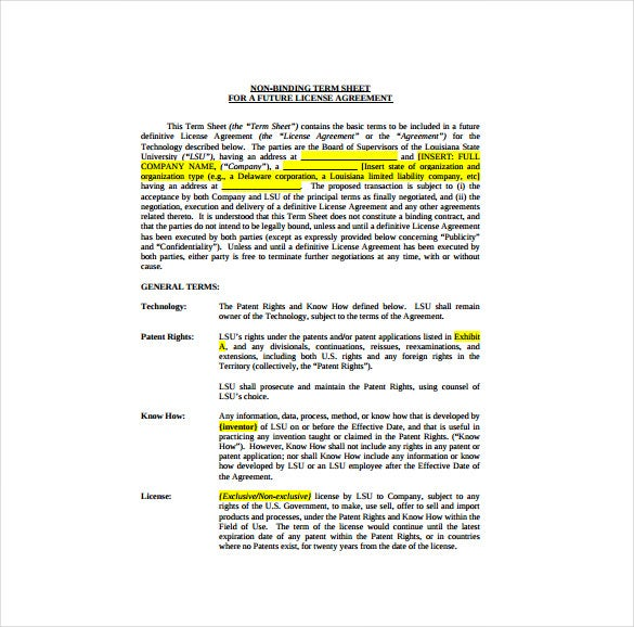venture capital term sheet template - 14 term sheet template free word pdf documents