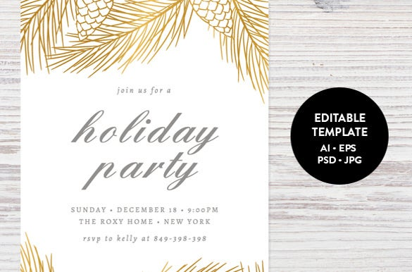 Holiday Invitation Template PSD Vector EPS AI PDF Format - Party invitation template: free holiday party invitation templates