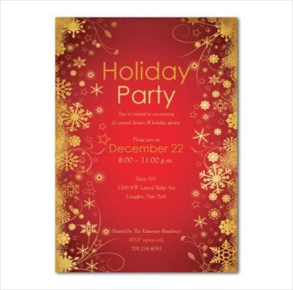 Holiday Invitation Template PDF Format Free Download  Free Invitation Download