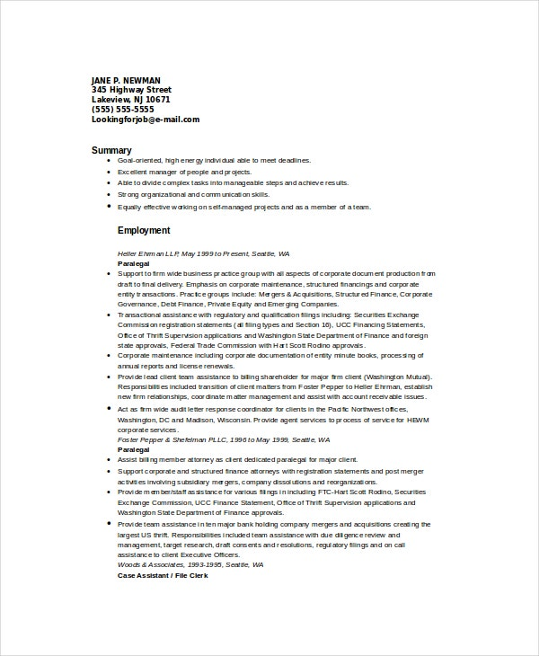 Paralegal Resume Template 7Free Word PDF Documents Download – Paralegal Resume