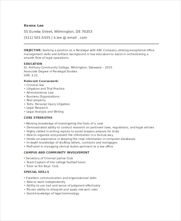 Entry Level Paralegal Resume  Litigation Paralegal Resume