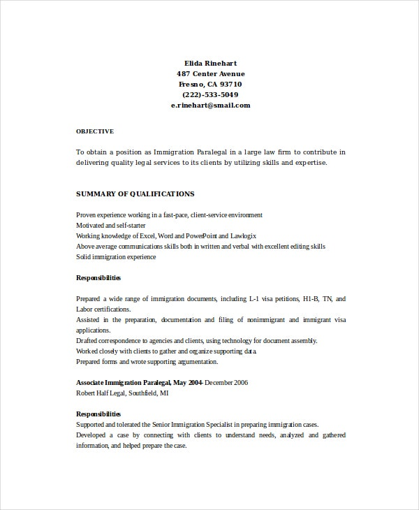 Immigration Paralegal Resume
