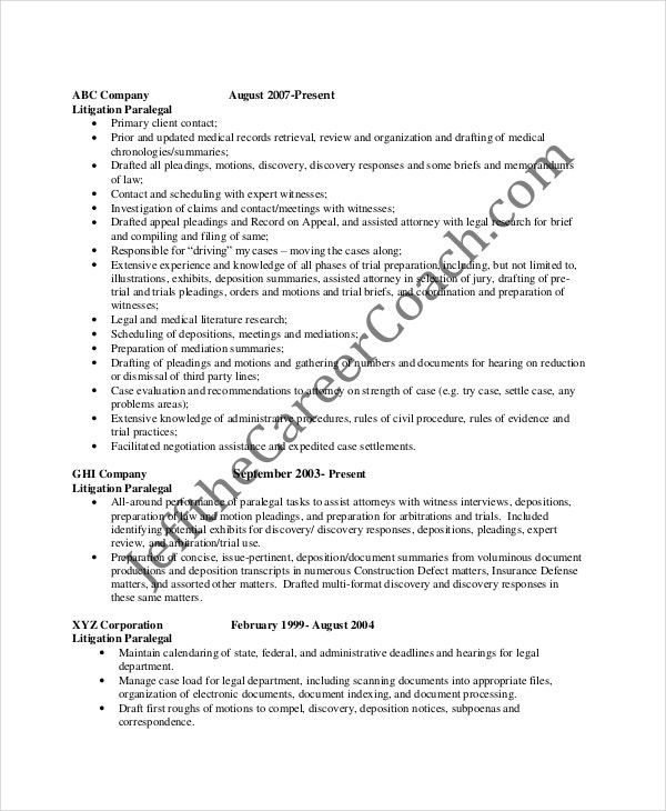 paralegal resume template 7free word pdf documents download - Example Of Paralegal Resume